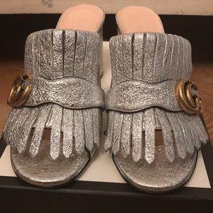 db9fc6a50 Gucci Shoes | Marmont Gg Peep Toe Kiltie Mule Sandal | Poshmark